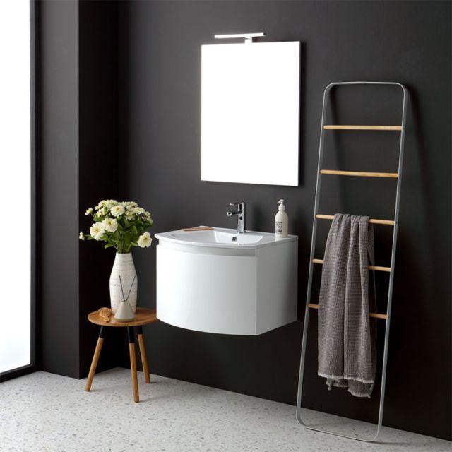 Kiamami Valentina Armoire De Toilette Suspendue Arrondie 62 Cm Blanc Rectangulaire Miroir Riva Pas Cher Achat Vente Meuble Haut Salle De Bain Rueducommerce