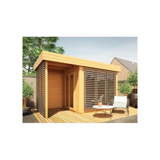 Abri de jardin en bois AMAKO + Terrasse couverte - 10.2 m² - Epaisseur 28 mm