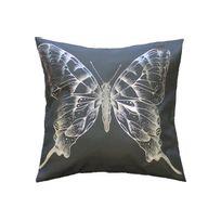 Declikdeco - Housse De Coussin Imprimé Papillon Argent 40x40 Mariposa
