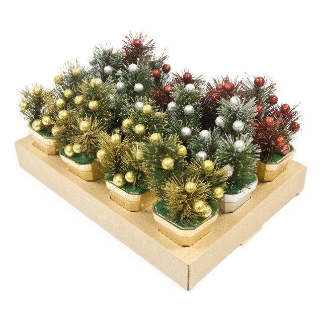 Visiodirect 12 pots de sapin motif Noël coloris assortis - 14 x 6 cm