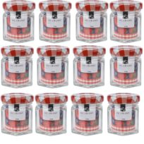 Touslescadeaux - 12 Mini Pots à Confiture en Verre 45 Ml - Bocaux à confiture avec couvercle