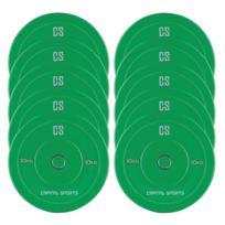 CAPITAL SPORTS - Nipton Bumper Plates 5 paires 10 kg vert caoutchouc dur
