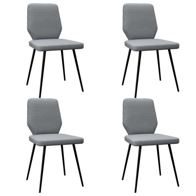Icaverne Chaises de cuisine & de salle à manger ensemble Chaises de salle à manger 4 pcs Gris clair Tissu