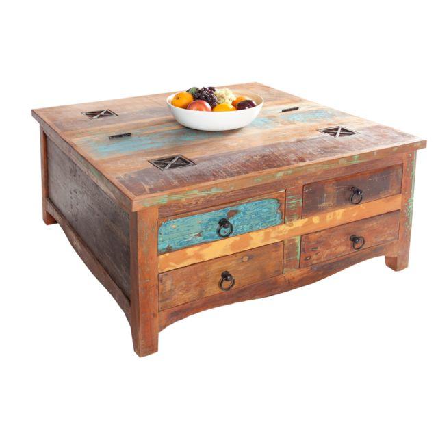 COMFORIUM Table basse 70 cm avec 4 tiroirs en bois massif recyclé multicolore