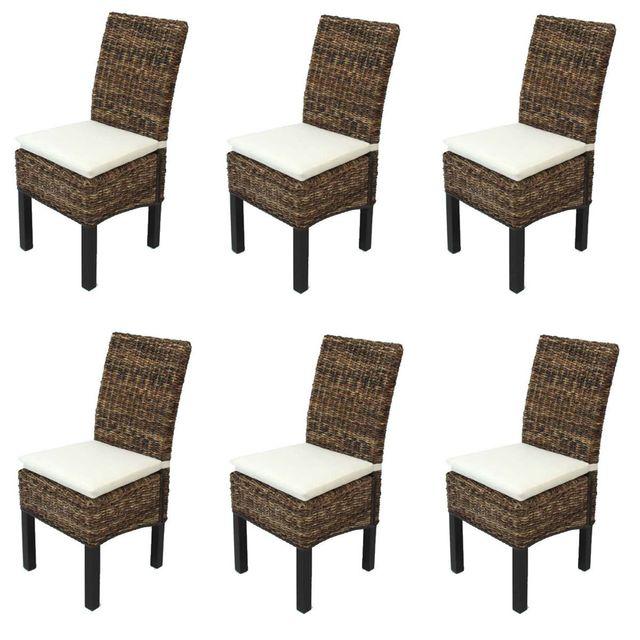 Mendler Lot de 2 chaises M69 Banane tress/ée avec Coussins Pieds fonc/és