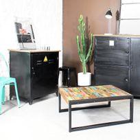 Made In Meubles - Table basse industrielle carrée en bois coloré | Mox5