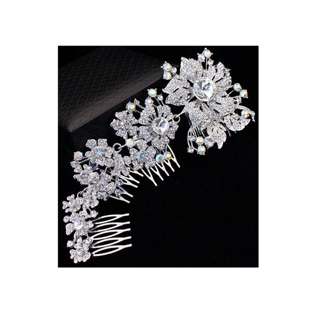 Blue Pearls - Accessoire de Mariage Peigne à Cheveux Fleurs en Cristal Blanc - Mar 005 Z