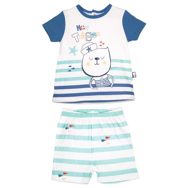 461868d3717ae Petit Beguin - Ensemble bébé garçon t-shirt + short Bluefish - Taille - 24  mois 92 cm - pas cher Achat   Vente Ensembles - RueDuCommerce