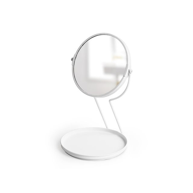 Umbra Miroir Grossissant à Poser En Acier Avec Vide Poche Blanc