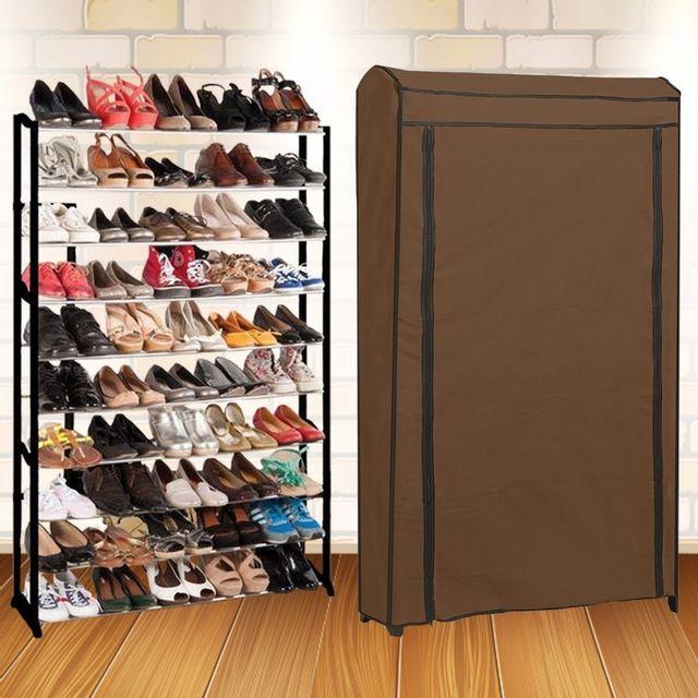 Idmarket etagère range chaussures 50 paires eco avec sa housse chocolat chez Rue Du Commerce