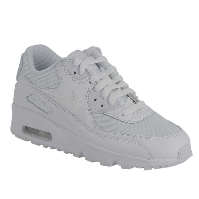 Nike - Air Max 90 mesh Gs 833418 100 white white 35 1/2 - pas cher Achat / Vente Baskets enfant - RueDuCommerce