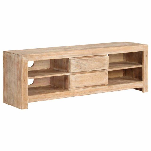 Helloshop26 Meuble télé buffet tv télévision design pratique bois d'acacia massif 120 cm marron clair 2502121