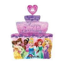 "Party2u - Ballon Aluminium ""SUPERFORME"" GÂTEAU Anniversaire Happy Birthday Cake Disney Princess"