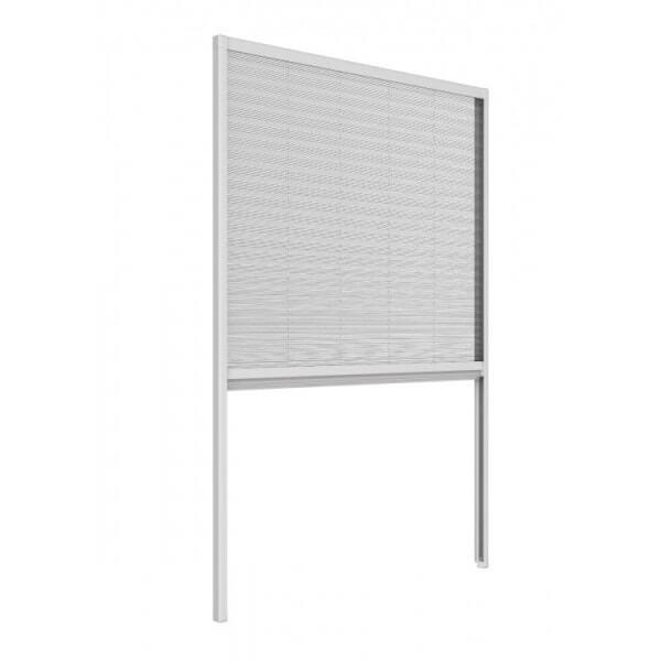 Moustiquaire Plissée Fenêtre - Alu Blanc L150 x H160 cm à découper soi-même