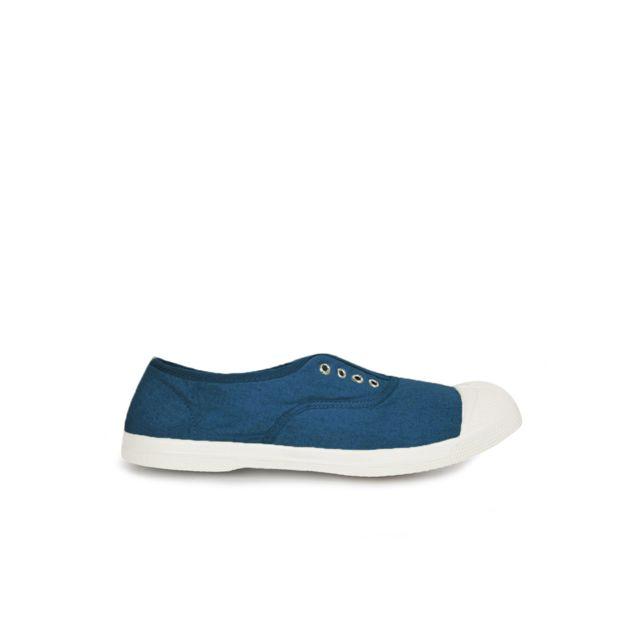 BENSIMON Tennis Elly - sans lacets - Bleu Version sans lacets de la tennis avec œillets et élastique pour un parfait maintien du pied. Fabriquée à la main en Europe, elle est conçue à partir de caoutchouc naturel e