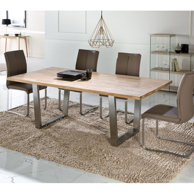 Tousmesmeubles Table de repas plateau Chêne massif - Steph - L 200 x l 100 x H 76