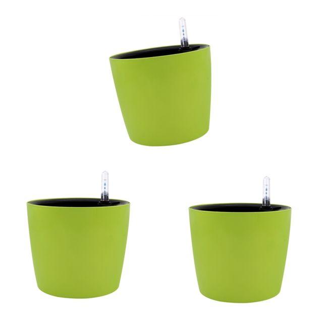 3 Pièces 7 ''moderne Auto-arrosé Planteur Cour Décoration Paresseux Pot De Fleur Vert
