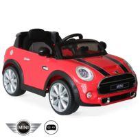 MINI Cooper rouge, voiture électrique 12V, 1 place, cabriolet pour enfants avec autoradio et télécommande
