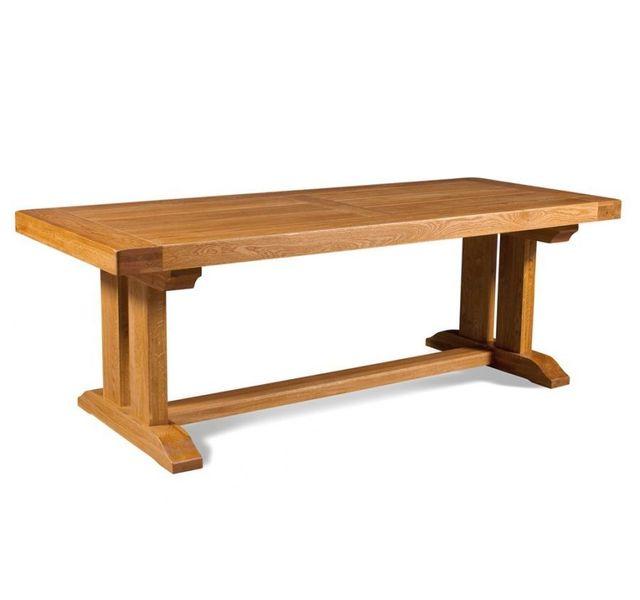 HELLIN Table Poutre de salle à manger en chêne massif