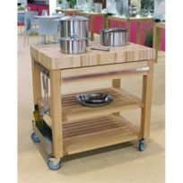 Cristel - Table roulante billot dessus bois et façade bois 90 x 60 cm Cm90DBCB-Cookmobil par