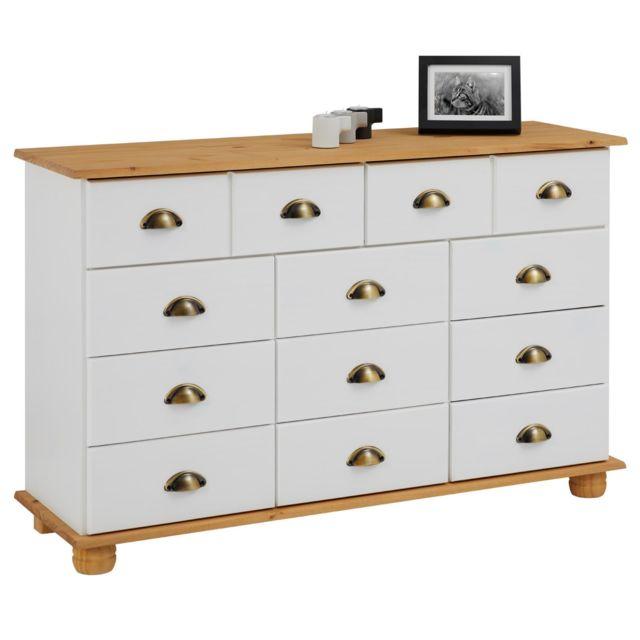 IDIMEX Commode COLMAR chiffonnier apothicaire rangement avec 11 tiroirs en pin massif lasuré blanc et brun