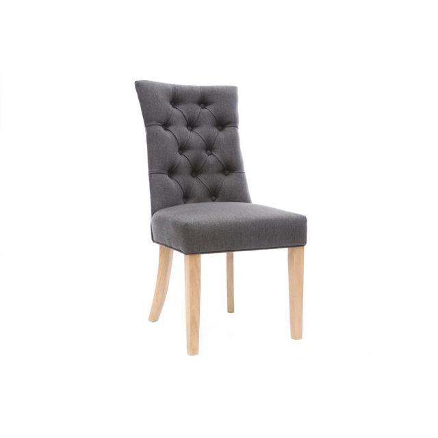 tissu gris Voltaire bois clair Chaise classique foncé pied l1JcTFK