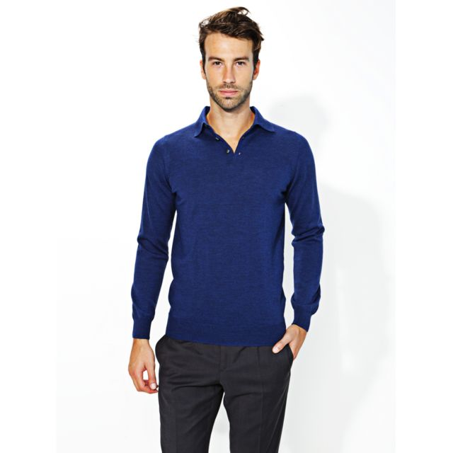 8b0371fb94048 Bruce Field - Bruce Field - Pull Polo homme 100% laine Mérinos extra fine -