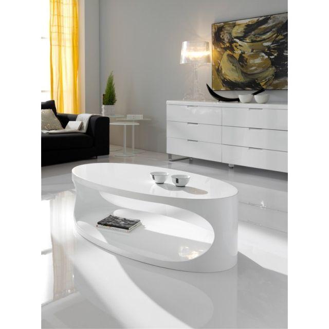Ma Maison Mes Tendances Table basse ovale en bois laqué blanc brillant Oriana - L 120 x l 65 x H 37.5