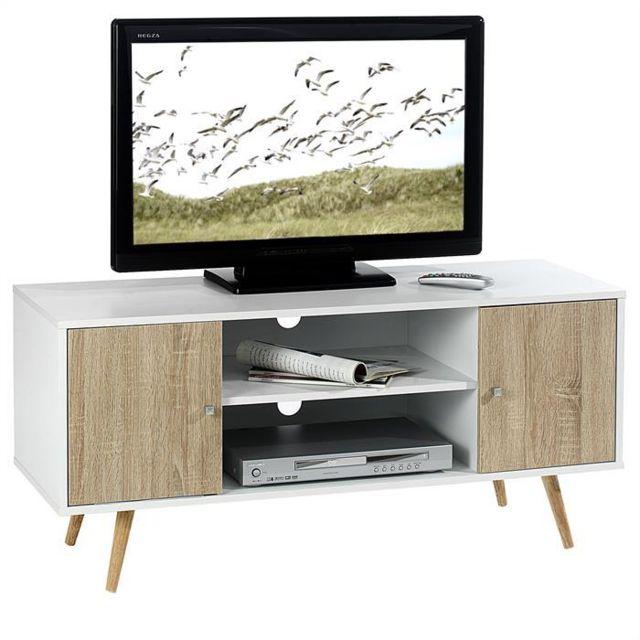 IDIMEX Meuble banc TV design MURCIA décor blanc et bois