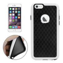 Techexpert - Coque en tpu + contour plastique pour iphone 6 Plus petits motifs cubes bicolore blanc / noir