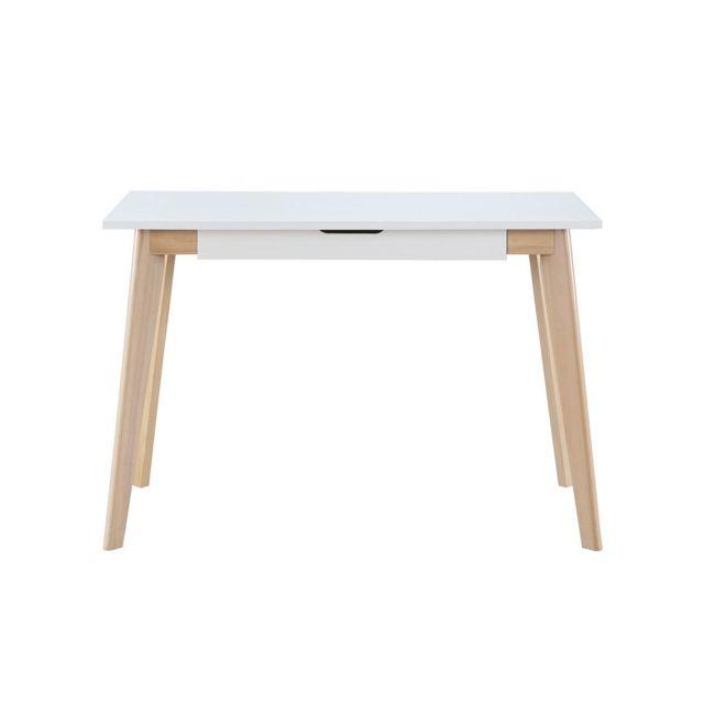 miliboo bureau scandinave bois blanc leena pas cher achat vente bureaux rueducommerce. Black Bedroom Furniture Sets. Home Design Ideas