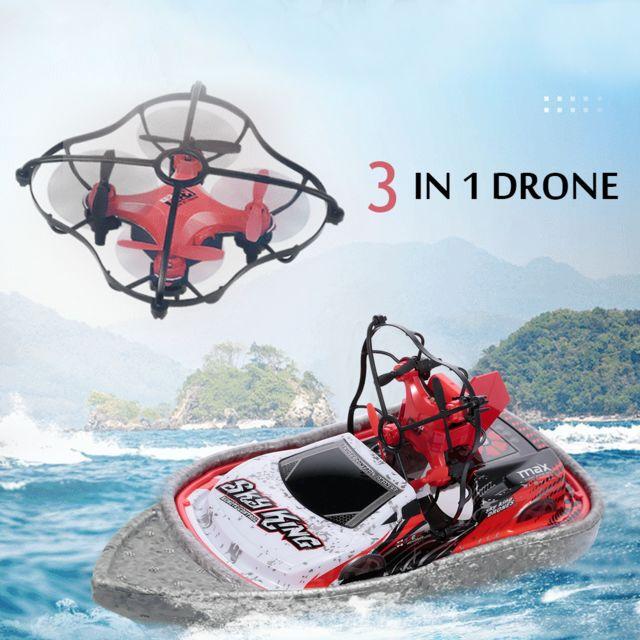 Generic 3 en 1 Drone Bateau Voiture Mer Air Mode Terre 3-mode Altitude Hold Mode Sans Tête Bateau Rc Quadricoptère Voiture Rtf