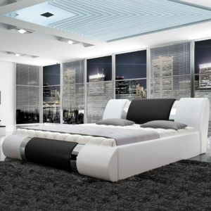meubler design lit design atlanta avec sommier relevable 140x200 blanc et noir pas cher. Black Bedroom Furniture Sets. Home Design Ideas