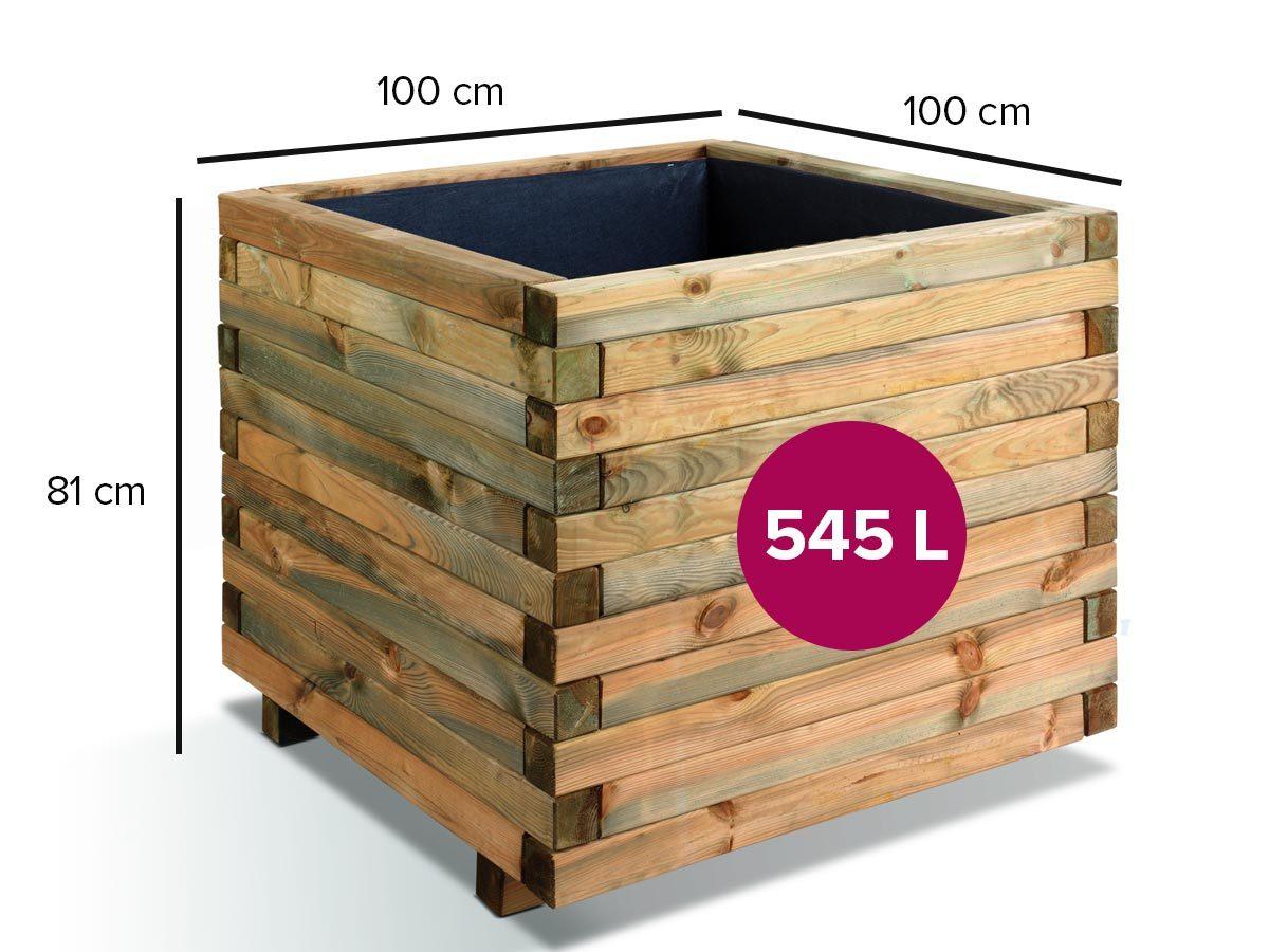 Bac à fleurs STOCKHOLM 100 carré - maxi volume 532 L