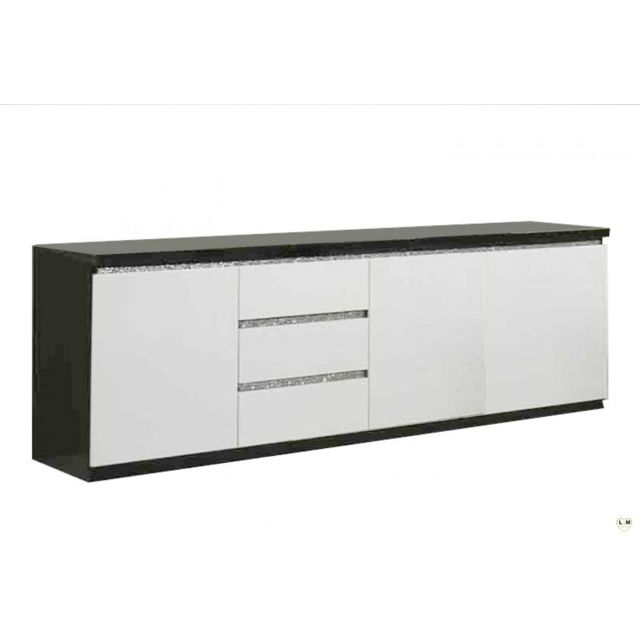 Decodesign Bahut 220cm design laqué noir-blanc avec strass Cromo
