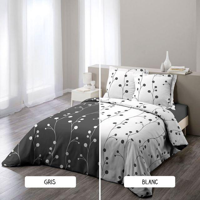 sans marque housse de couette 240 x 260 cm taies clochette deux coloris blanc pas. Black Bedroom Furniture Sets. Home Design Ideas