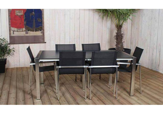 Résidence - Salon Jardin Extensible Inox & Hpl 8 Fauteuils - Flic En ...
