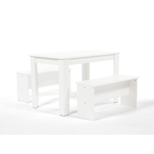 Table à manger bois Longueur 110cm + 2 bancs MENU DU JOUR - Blanc