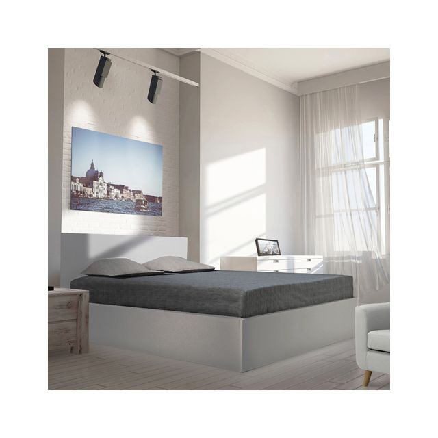 lit coffre gris. Black Bedroom Furniture Sets. Home Design Ideas