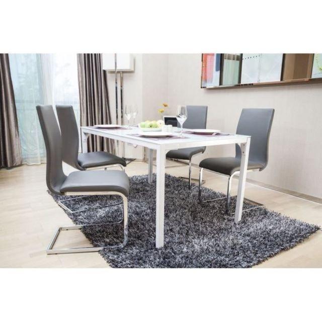 CHAISE LEA Lot de 2 chaises de salle a manger - Simili gris - Style contemporain - L 43 x P 56 cm