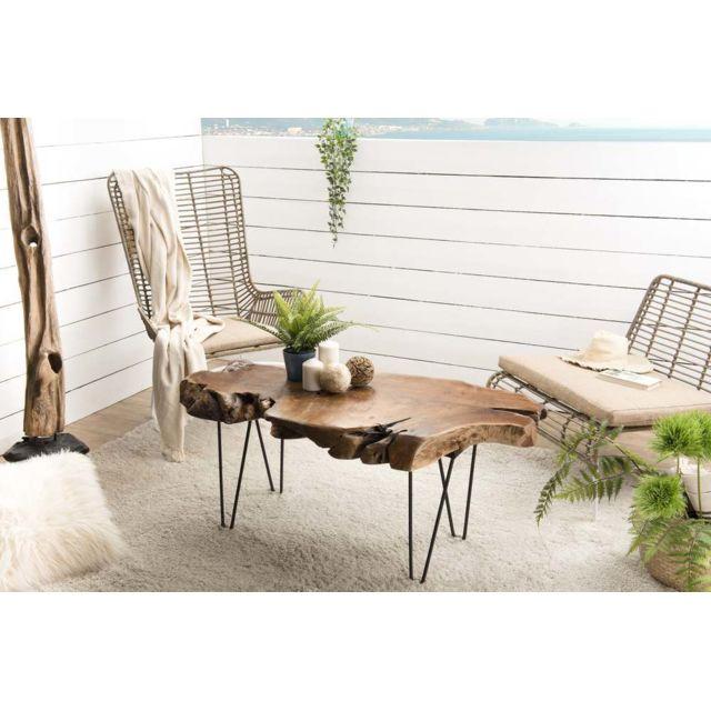 MACABANE Table basse forme naturelle Teck - pieds épingles scandi métal