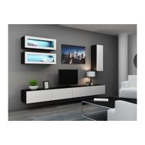 chloe design meuble tv design suspendu bino noir et blanc
