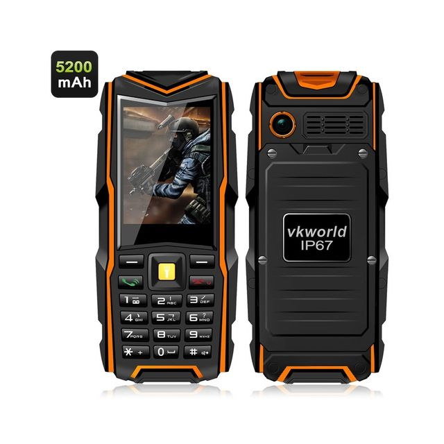 Auto-hightech Telephone robuste etanche double sim Ip67 ecran 2,4 pouces banque dalimentation 5200mAh Bluetooth 4.0 Orange