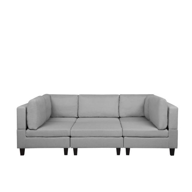 BELIANI Canapé panoramique modulable gris clair 5 places avec pouf ottoman FEVIK - gris clair