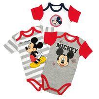 Disney - Lot de 3 bodys manches courtes Mickey 9/12 mois