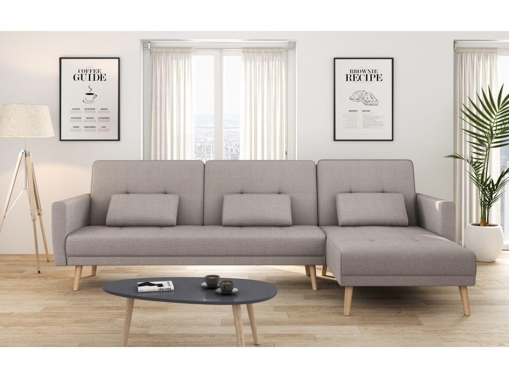Canapé d'angle réversible et convertible 4 places tissu gris taupe ZOEY