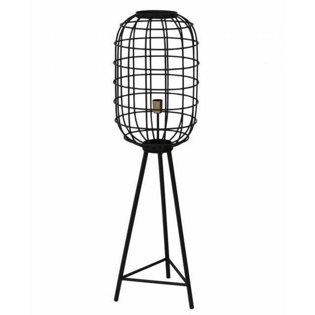 Eclairage Trépied Toah Lampe sur Pied Industrielle Luminaire d'Appoint Moderne en Métal Patiné Noir 35,5x35,5x125cm