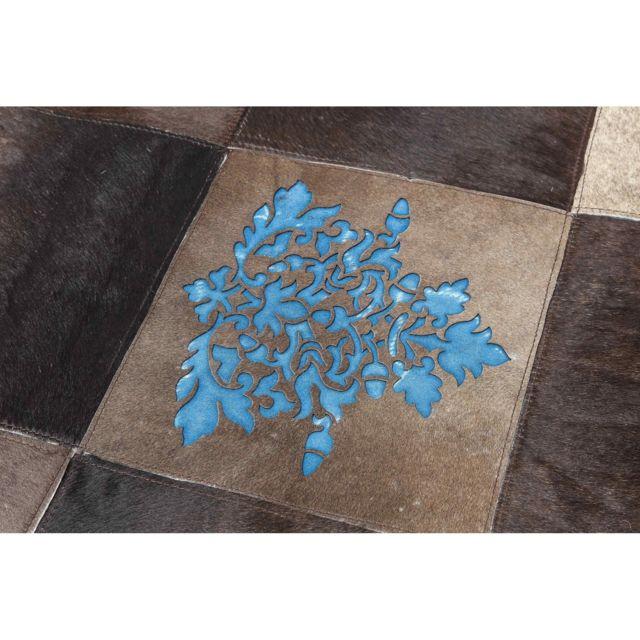 Karedesign - Tapis en cuir Square Ornament bleu 170x240cm Kare Design
