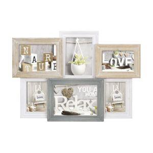 zep cadre photo multi vues pour 5 photos bois beige blanc bleu vincennes pas cher achat. Black Bedroom Furniture Sets. Home Design Ideas