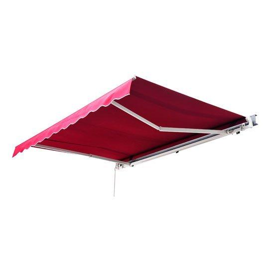 Store banne manuel rétractable inclinaison réglable aluminium polyester imperméabilisé 3L x 2,5l m rouge neuf 07R